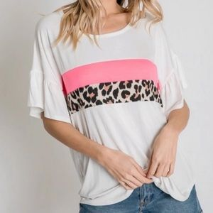 Leopard Print Ruffle Sleeve Top